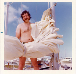 Avram with muttonchops sailing in Puerto Rico, 1973.